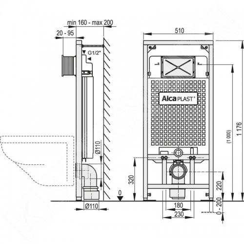 Alcaplast тоалетно казанче с рамка за вграждане