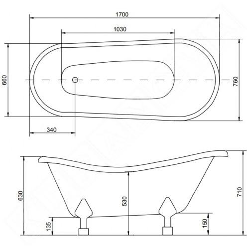 Свободно стояща вана Otylia 2 170x77 см.