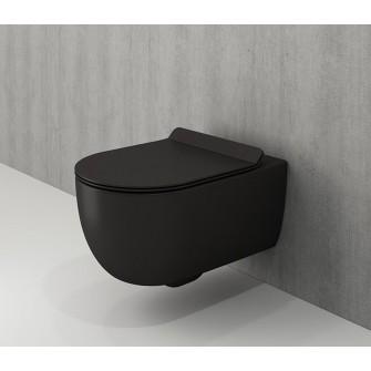 Rimless конзолна тоалетна Tondo - черен мат