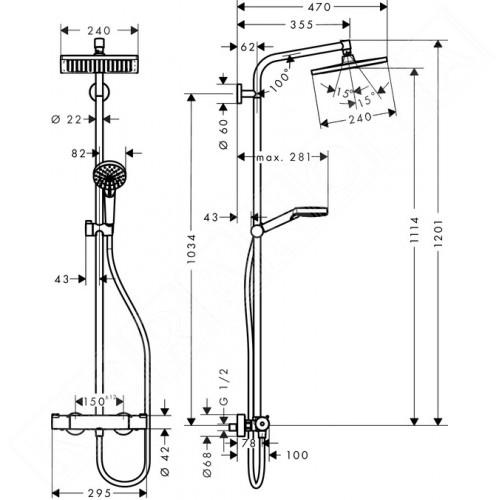 Hansgrohe Душ колона с термостат и квадратна пита Crometta E240