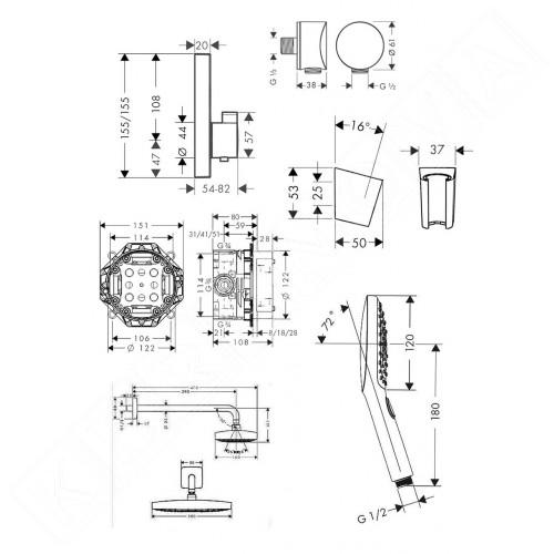 Hansgrohe Design Душ комплект Raindance Select E Душ система за вграждане с термостат 27296000