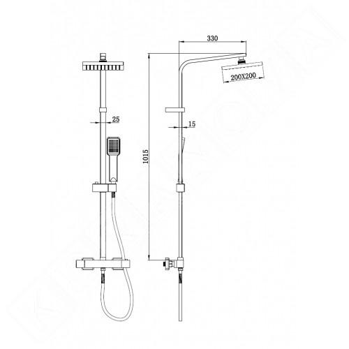 Квадратна душ колона Thermostatic
