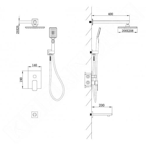 Квадратна душ система с чучур