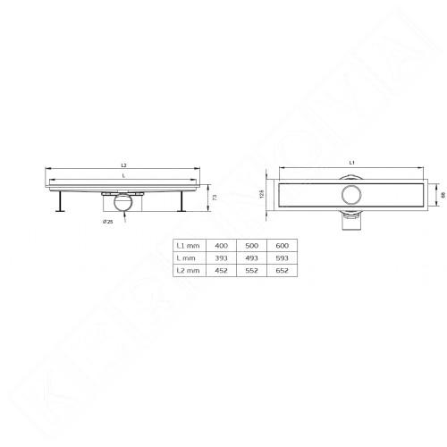Линеен сифон ERGO 40, 50 и 60 см.