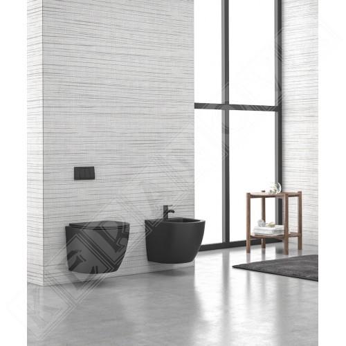 Конзолна тоалетна Milos Rimless - черен мат