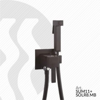 SUM11+SOLR8 квадратен смесител за вграждане с хигиенен душ черен мат