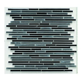Glass Mix Strip Mosaic BLACK 29,8х30,5 см.