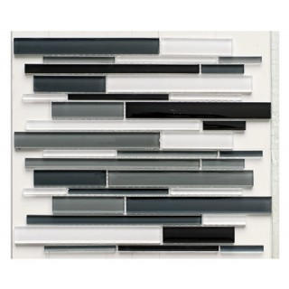 Glass Mix Strip Mosaic BLACK 29,9х30,5 см.