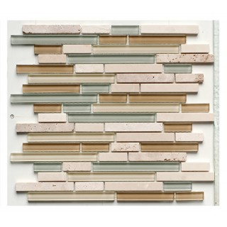 Glass & Stone Mix Strip Mosaic CREAM 30,5х30,5 см.