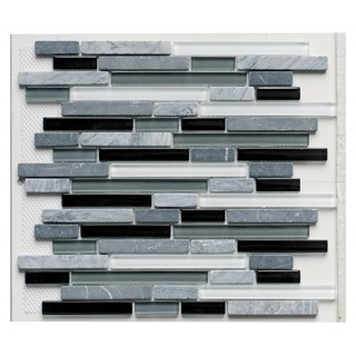 Glass & Stone Mix Strip Mosaic BLACK 30,5х30,5 см.