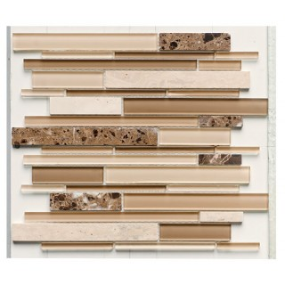 Glass & Stone Mix Strip Mosaic BEIGE 29,9х30,5 см.
