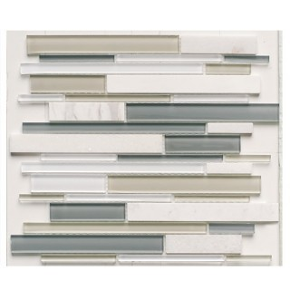 Glass & Stone Mix Strip Mosaic WHITE 29,9х30,5 см.