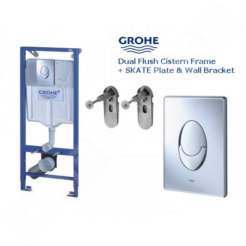 Промо пакет Rimless тоалетна с биде, смесител и Grohe с хром бутон